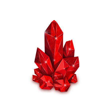 Red big crystal isolated on white background. Ruby jewel. Vector illustration. 向量圖像