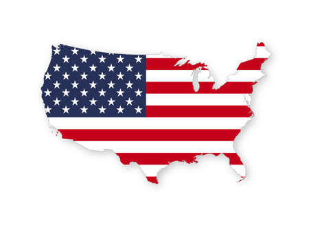 Map of the USA with the national flag of United States of America isolated on white background. Vector illustration. Vetores