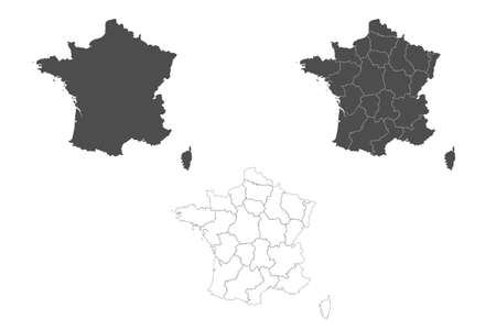 Detailed France map with borders of the regions. Outline map isolated on white background. Vector illustration map of France. Illusztráció