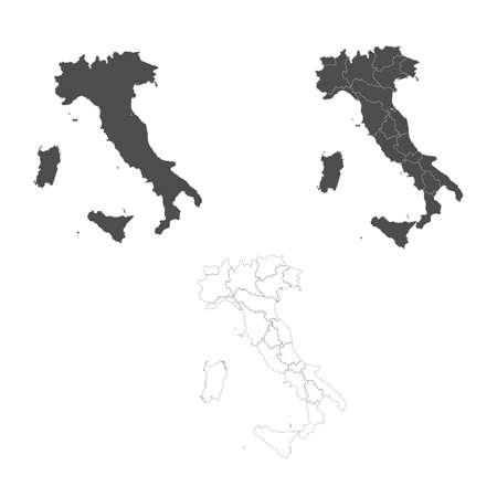 Detailed Italy map with borders of the regions. Outline map isolated on white background. Vector illustration map of Italy.