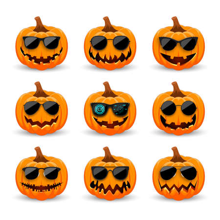 Set of Pumpkins in black sunglasses on white background. The main symbol of the holiday Happy Halloween. Hipster orange pumpkins with smile for the holiday Halloween. Vector illustration.