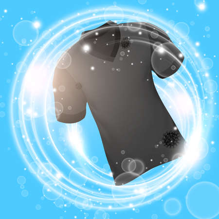 Black shirt washing in water with soap bubble and deep clean. Vector illustration.