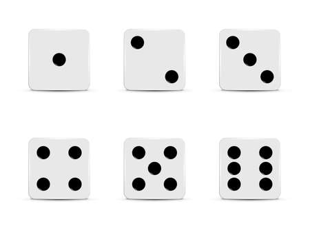 Set of white dices. Vector illustration. Illustration