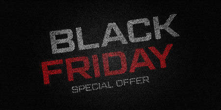Black Friday on torn flags. Advertising banner for the worldwide sale holiday. Vector illustration.