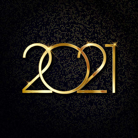 Happy New Year 2021. Text on bright halftone background. Vector illustration.