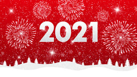 Merry Christmas and happy New Year 2021 on red background with fireworks. Vector illustration.