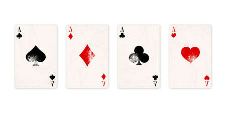 Vintage classic four aces on white background. Old poker cards. Vector illustration.