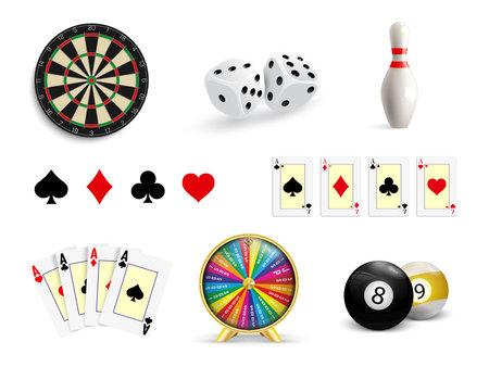 Set of illustrations of gambling. Poker, Casino, Darts, Bowling, Wheel of Fortune and Dice. Gambling icons set. Vector illustration. 免版税图像