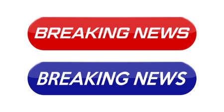 Blank news button with breaking news text. Vector illustration.