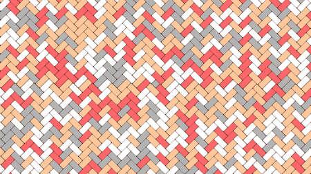 Pattern of tiles cobblestone pavement. Color geometric mosaic street tiles. Paver block of paving slab. Vector Illustration