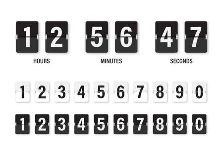 Clock countdown display. Set numbers flip watch. Black and white date counter flip display isolated on white background. Vector illustration.