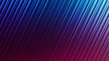 Neon abstract lines design on gradient background. Futuristic background for landing page. Holographic gradient stripes. Shiny lines texture. Psychedelic neon color shading. Vector illustration.