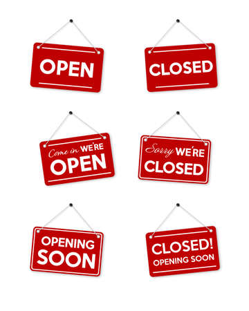 Set red frame Sorry we're closed and opening soon door sign isolated on white background. Vector illustration.