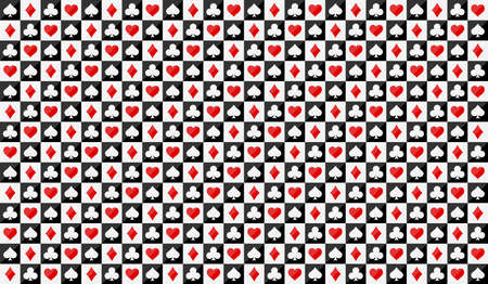 Background for poker and casino. Seamless Pattern from the suits of a deck of cards. Poker symbols on square blocks. Vector illustration.