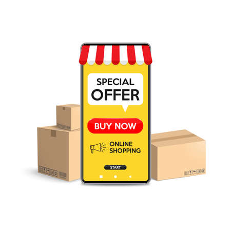 Shopping online on website or mobile application concepts of online shopping with smartphone isolated of white background. Vector illustration.