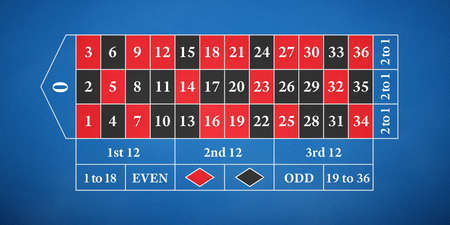 Roulette table. Field for playing classic European roulette with one zero on a blue cloth. 免版税图像