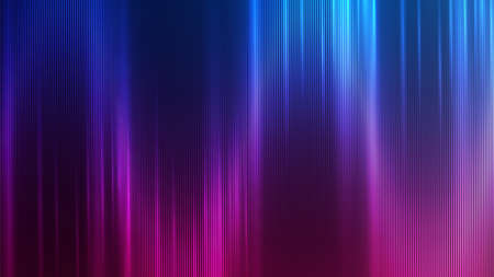 Neon abstract lines design on gradient background. Futuristic background for landing page. Holographic gradient stripes. Shiny lines texture. Psychedelic neon color shading.