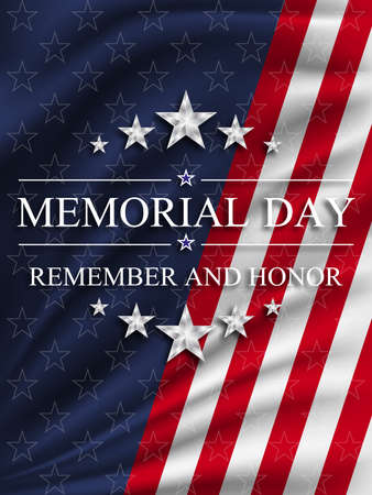 Memorial day background with national flag of United States. National holiday of the USA. Vector illustration.