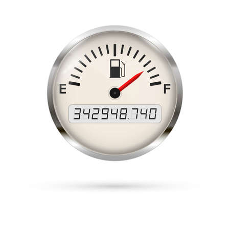 Fuel gauge with chrome frame. Full indication. Fuel indicator Meter. Fuel gauge. Vehicle charge indicator. Vector illustration isolated on white background. 矢量图像