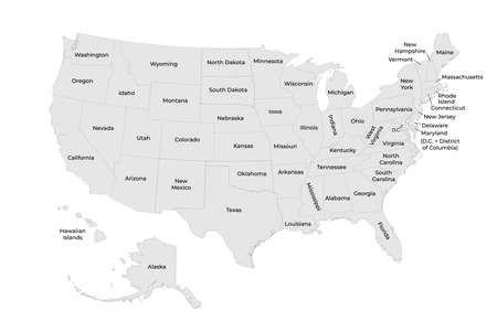 Detailed Map of United States of America with states. Vector illustration. 矢量图像