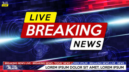 Breaking news live on world map background. Background screen saver on breaking news. 矢量图像