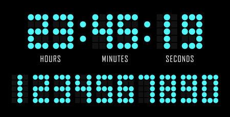 Countdown website flat template digital clock timer background. Dots number. Countdown timer. Clock counter. Digital scoreboard. Vector illustration.