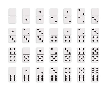 Set White Domino game block with shadow and reflection on white background. Vector illustration.