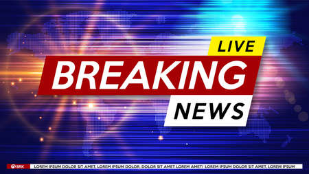 Breaking News Live on World Map Background. Business Technology News Background. Vector Illustration. 矢量图像