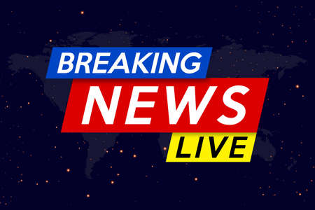 Breaking news live on the night sky background. Background screen saver on breaking news. Vector illustration.