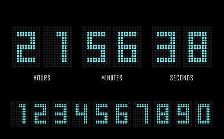 Countdown website vector flat template digital clock timer background. Dots number. Countdown timer. Clock counter. Digital scoreboard. 矢量图像