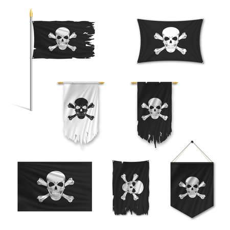 Set of black Pirate flags torn in the wind, on a pole, pennant, ragged, stretch, isolated on white background. Vector illustration. 矢量图像