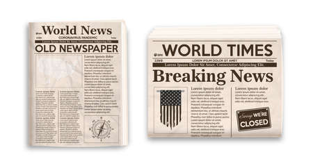 Vector illustration of old newspaper layout. Vertical and horizontal mockup of newspapers isolated on white background.