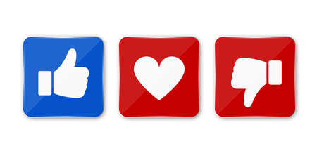 Thumb up, down and heart icon. Vector like, dislike and love icon. Ready like, dislike and love button for website and mobile app. Vector illustration. 矢量图像