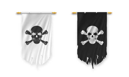 Torn Pirate black and white flag in the wind isolated on white background. Vector illustration. 矢量图像