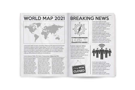 Realistic vector illustration of the page spread newspaper layout. Vector illustration.