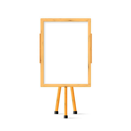 Wooden school child white art board on easel front view. Vector illustration.