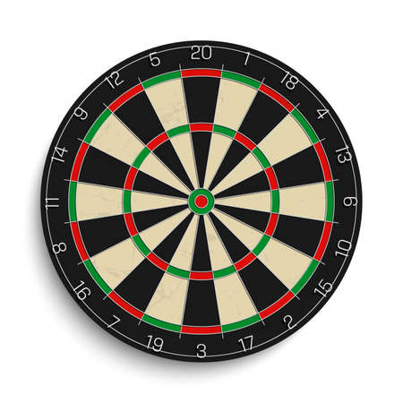 Realistic dart board isolated on white background. Vector illustration.