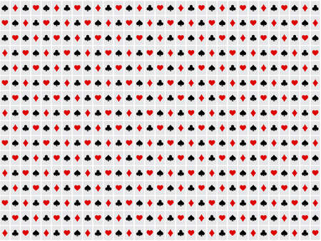 Background for poker and casino. Pattern from the suits of a deck of cards. Black and red symbols on white background. 矢量图像