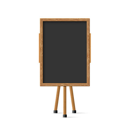 Wooden school child black board on easel front view. Vector illustration 矢量图像