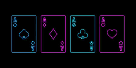 Neon sign of playing aces cards on the black background. Concept of poker, casino and gambling. Vector illustration. 矢量图像