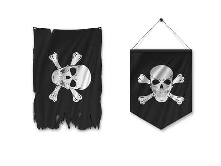 Torn Pirate black flag and pennant flag isolated on white background. Vector illustration.