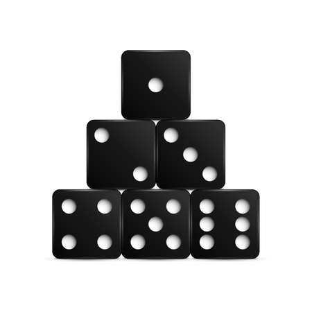 Set of black dices. Vector illustration.