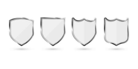 Set of metal shield isolated on white background. Vector illustration.