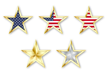 Set golden realistic star with American flag isolated on white background. Design element for patriotic American posters, cards. 矢量图像