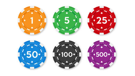 Set of chips for poker and casino. Realistic vector illustration. 矢量图像