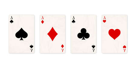 Classic four aces on white background. Vector illustration.