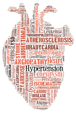 Heart disease. Cardiovascular disease. Heart of words. Arrythmia