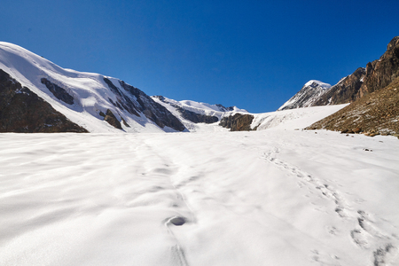 Journey through the Altai mountains to  Aktru. Hiking to snowy peaks of the Altai mountains. Survival in harsh conditions, beautiful nature and splendid panorama. Hard to reach places for tourists
