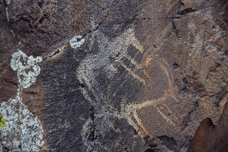 Petroglyphs, ancient rock carvings on stones of Altai