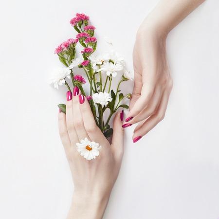 Hermosas manos bien cuidadas con flores silvestres sobre la mesa, cosméticos antiarrugas y antiarrugas para las manos. Cuidado y belleza de la piel, hidratación y spa.